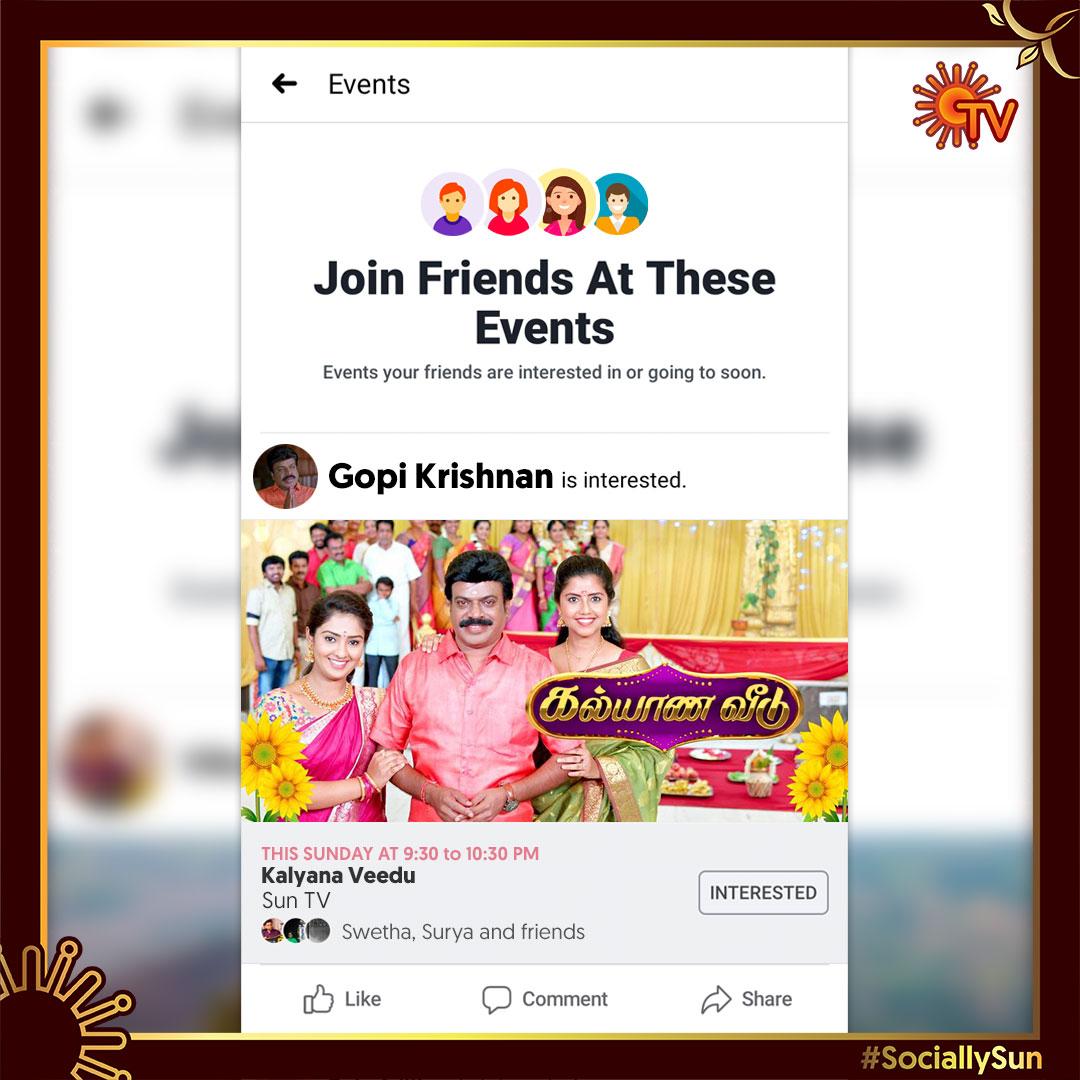 என்ன மக்களே Event -க்கு ரெடியா?  கல்யாண வீடு ஸ்பெஷல் ஷோ  பிப்ரவரி 23   9.30 PM  #KalyanaVeedu #KalyanaVeeduOnSunTV #SunTV #SociallySun pic.twitter.com/NsXoNwVHys