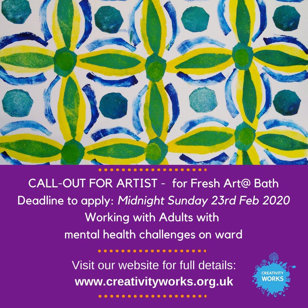 Job Opportunity: On Ward Artist for FreshArt@ Bath. Deadline to apply: 23rd February 2020 #artist #mentalhealth #creativity https://conta.cc/3bOl1rCpic.twitter.com/beAFx1n5Z9