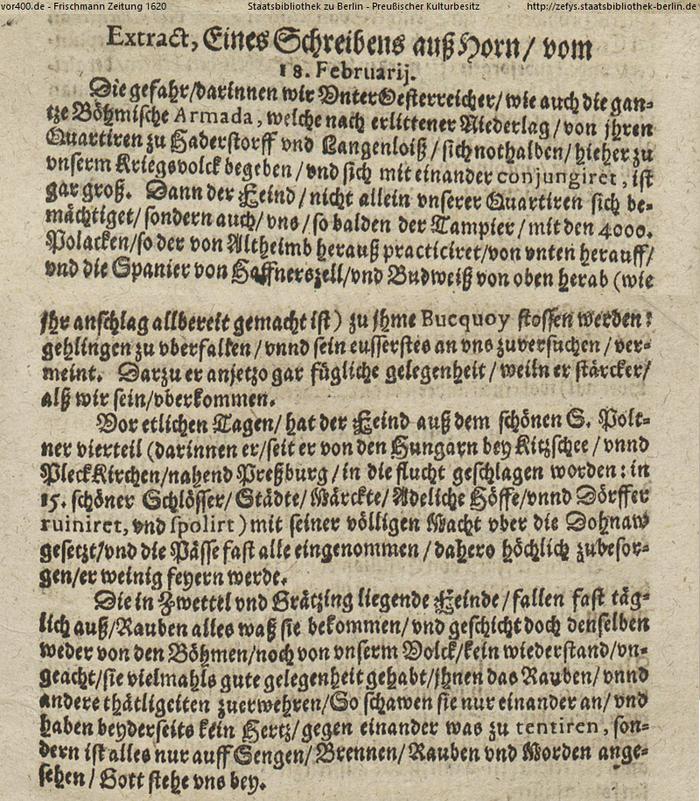 Schreiben aus Horn, 18. Feb 1620 #vor400 Die Gefahr für die Unter-Österreicher und das gesamte böhmische Heer ist groß! Nach erlittener Niederlage in Hadersdorf und Langenlois haben sich alle Truppe und Horn geflüchtet und vereinigt.  …> pic.twitter.com/W7t9UY8We2