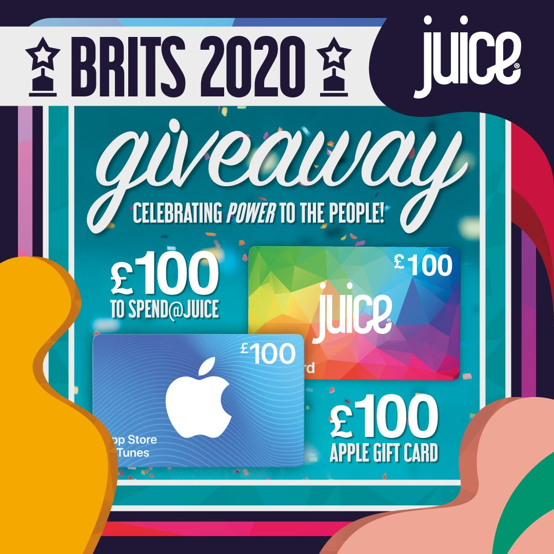 BRITS PRIZE  we're bringing power to the people at the #BRITs awards tonight! Win £100 to spend at juice and a £100 iTunes voucher to celebrate in style:   FOLLOW @juiceofficialuk   RETWEET this post and hashtag #BRITS2020  GOOD LUCK  #competition #giveaway pic.twitter.com/6yYGXNz0fE