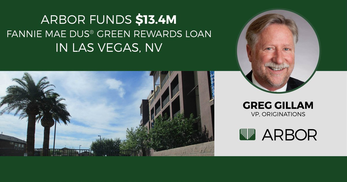 Congratulations to Arbor's Greg Gillam on closing a $13.4M Fannie Mae DUS® Green Rewards Loan in Las Vegas, NV!   Learn more about this deal: http://bit.ly/2vOfgth  #ArborRealtyTrust  #RealEstate #CRE #RealEstateInvesting #MultifamilyInvesting #MultifamilyRealEstatepic.twitter.com/3nGaS8uMlR