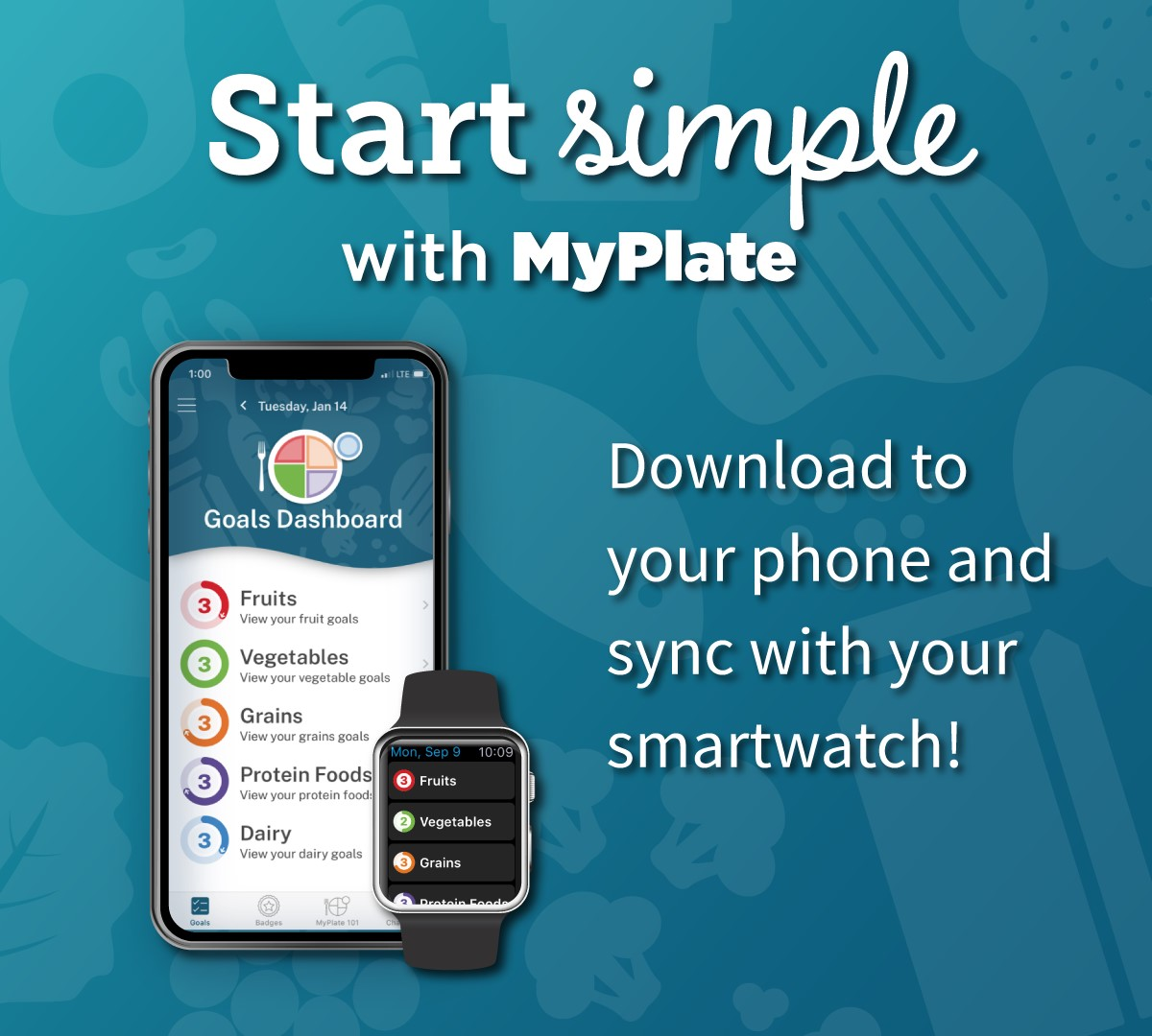 Did you know that MyPlate recently launched an app?! It helps you incorporate the MyPlate food groups into daily life by making positive changes and tracking them, one simple goal at a time! Check it out now at https://go.usa.gov/xdq8h .pic.twitter.com/Tz0898MUc7