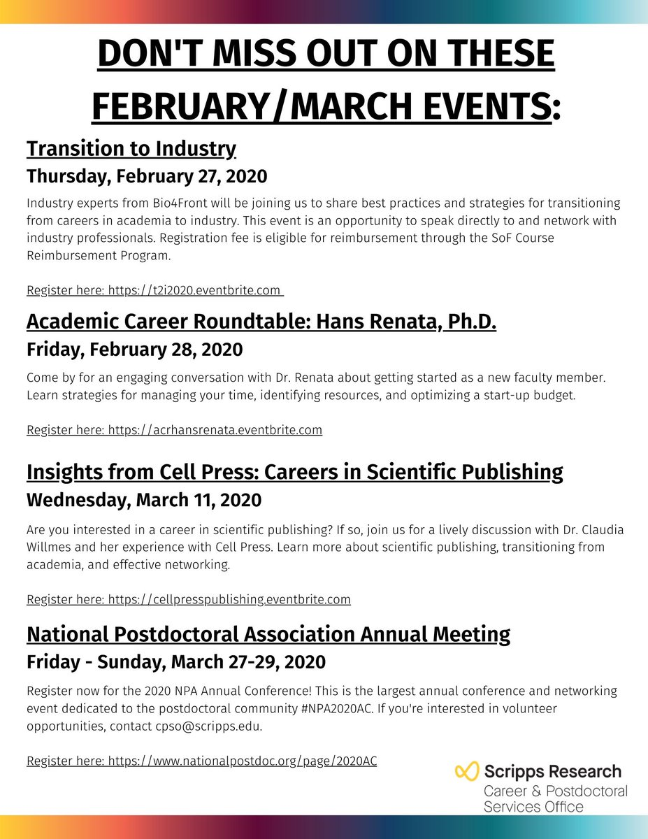 Don't miss out on all the great events happening in February/March! #scrippsCPSO<br>http://pic.twitter.com/iqGLY6oJ31