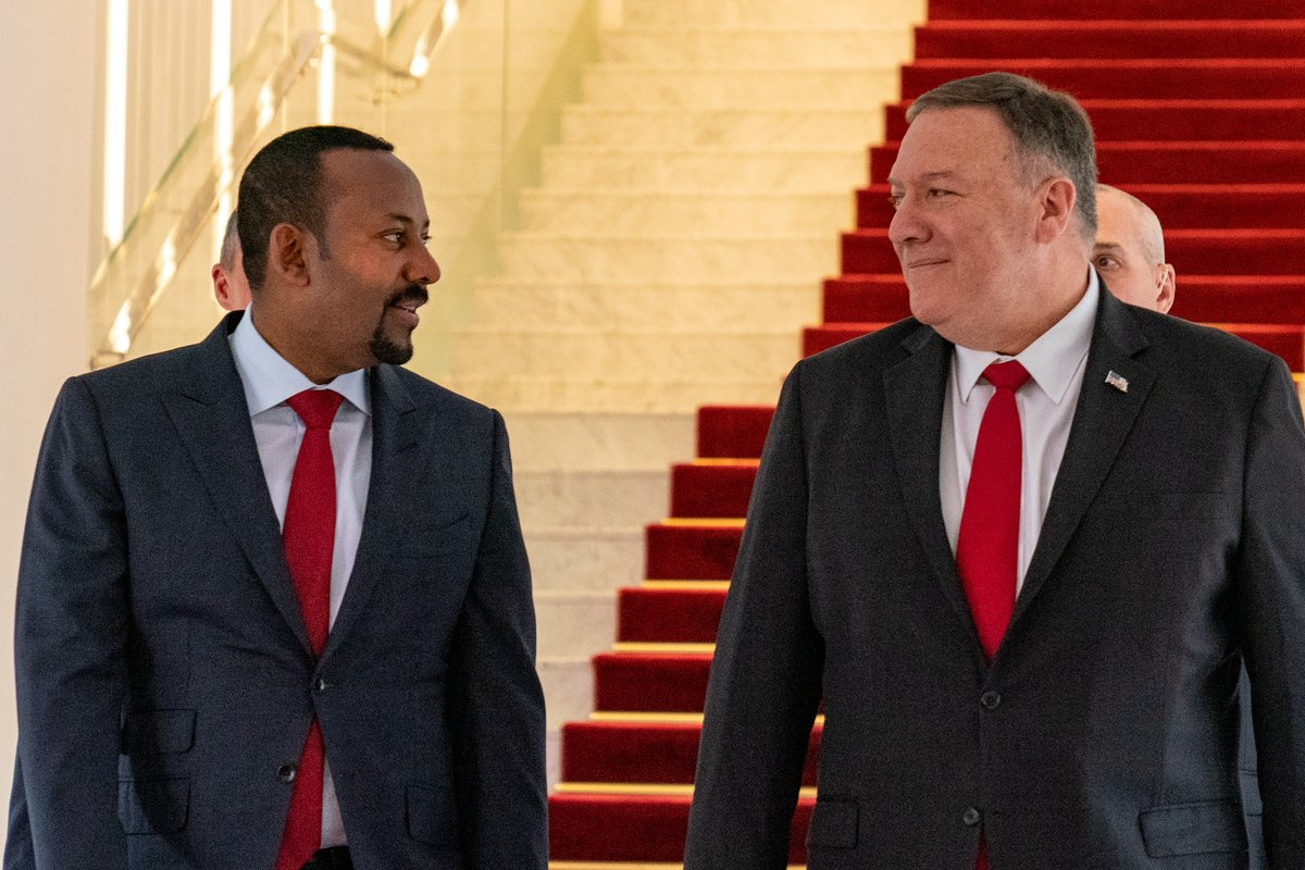 Great meeting with Ethiopian Prime Minister @AbiyAhmedAli to discuss expanding the U.S.-#Ethiopia partnership. I emphasized the importance of free and fair elections in 2020 and our deep appreciation for Ethiopia's leadership to ensure peace and stability in the Horn of Africa.