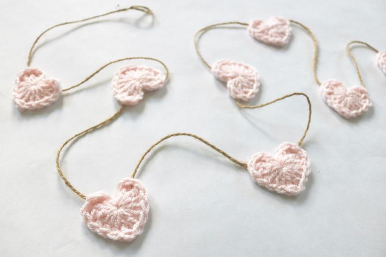 Pale pink Valentine's Day farmhouse heart garland ~ 38 other colors  https://www.etsy.com/listing/661843352…  FREE shipping on all US orders  @etsy #etsy #pink #heart #hearts #love #Valentines #Valentines2020 #ValentinesDay #ValentinesDay2020