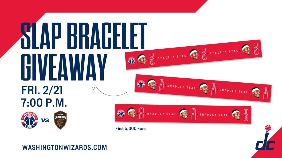 Be one of the first 5,000 fans at #WizCavs Friday for a chance to receive a Bradley Beal Slap Bracelet!  🎟   http://bit.ly/2u59jrF