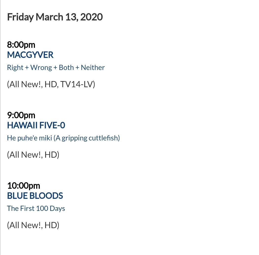 Episode titles for the all new #MacGyver #H50 #BlueBloods lineup airing March 13.   Note that March Madness (Basketball) will air March 20 & 27.