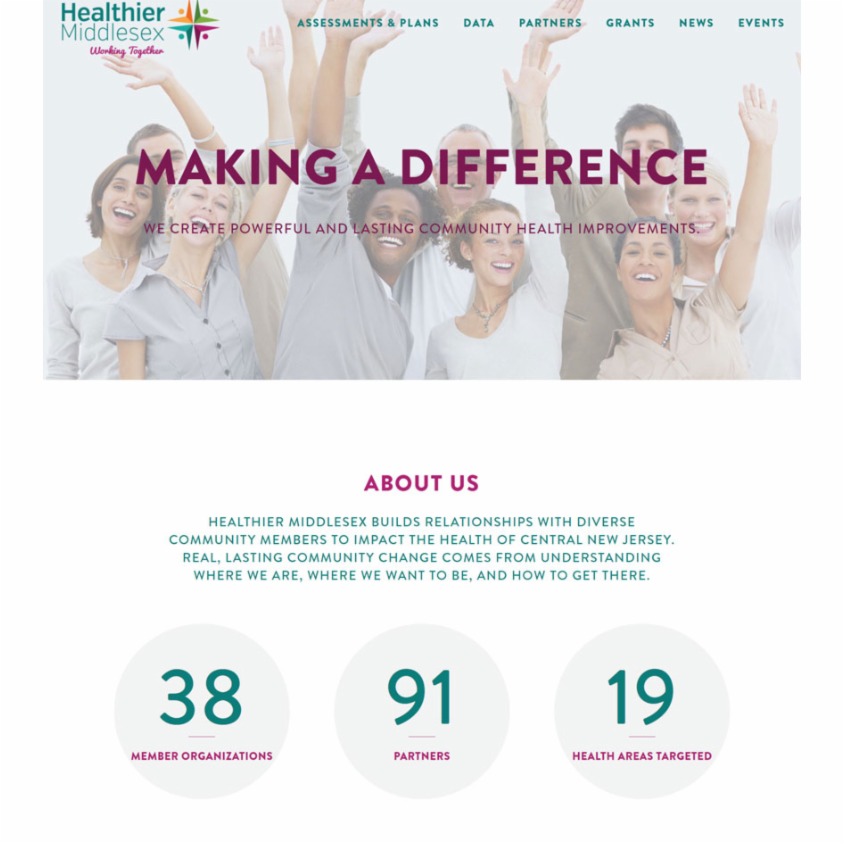 Healthier Middlesex builds relationships with the diverse community of central New Jersey – to make a lasting impact on community health. Healthier contacted RivalMind to build a beautiful website with dynamic data in graphic form. We exceeded expectations. #webdesign #rivalmind