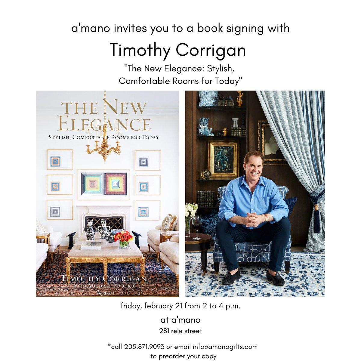 "Hey Birmingham! Join me at @amano_bham this Friday Feb 21 from 2-4 PM where I'll be signing copies of my new book ""The New Elegance"" @rizzolibooks #amanobham #amanogifts #mountainbrook #mountainbrookvillage #inbham #instagrambham #birmingham #interiordesignerpic.twitter.com/FEkmlzlkXH"