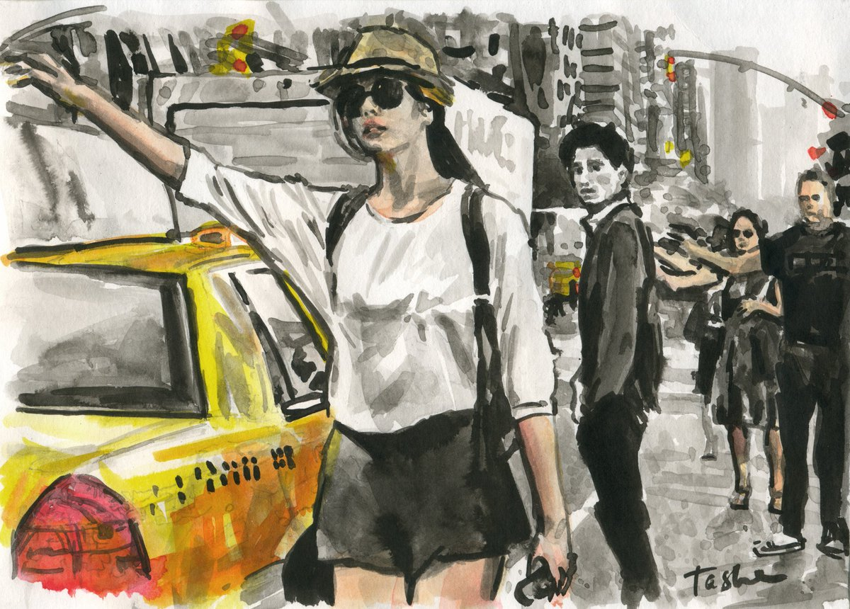 Just sold 😉👍🎉. Im very grateful to the art collector from United Kingdom 🤗, thank you for your purchase! Good evening my dear friends😆😇🌇🍵! Love and be loved.💞 #tasheart #instaart #picoftheday #love #artonline #taxi