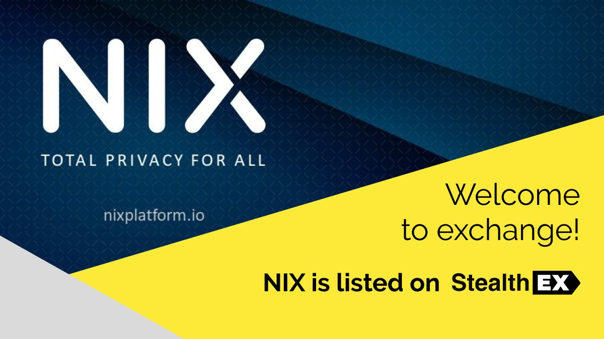Another one!  We are happy to announce that $NIX is now also available on @StealthEX_io 👻