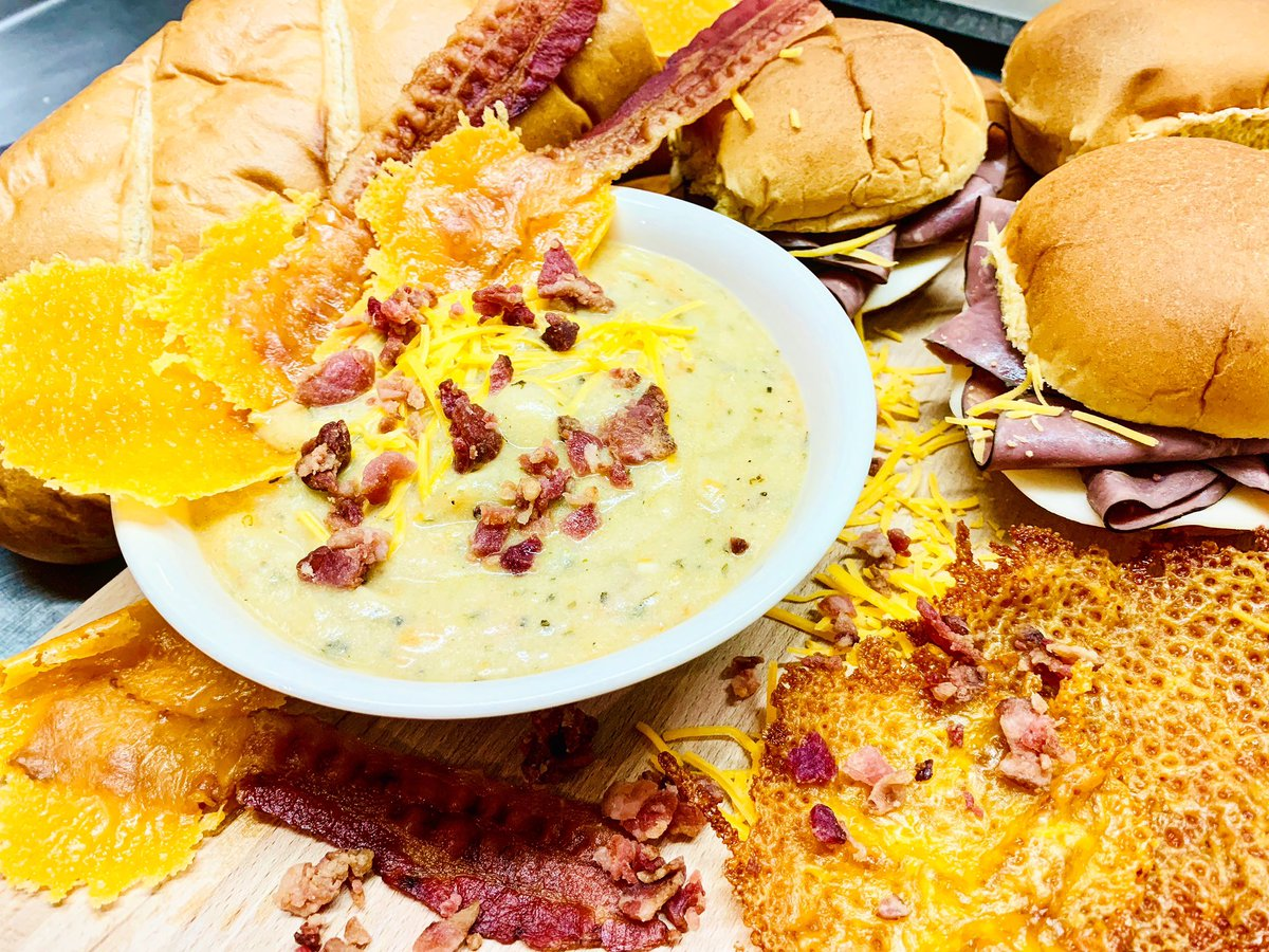 """Today's lunch feature is """"fun with cheddar and bacon"""" 🥓🥓🥓 Cheese Bacon Potato soup paired with a delicious roast beef sandwich 😋 #cheese #bacon #potatosoup #baconlovers #yummyfood #flavortown #food #yum #photooftheday #lunch #dinner #fresh #tasty #delicious #eat"""