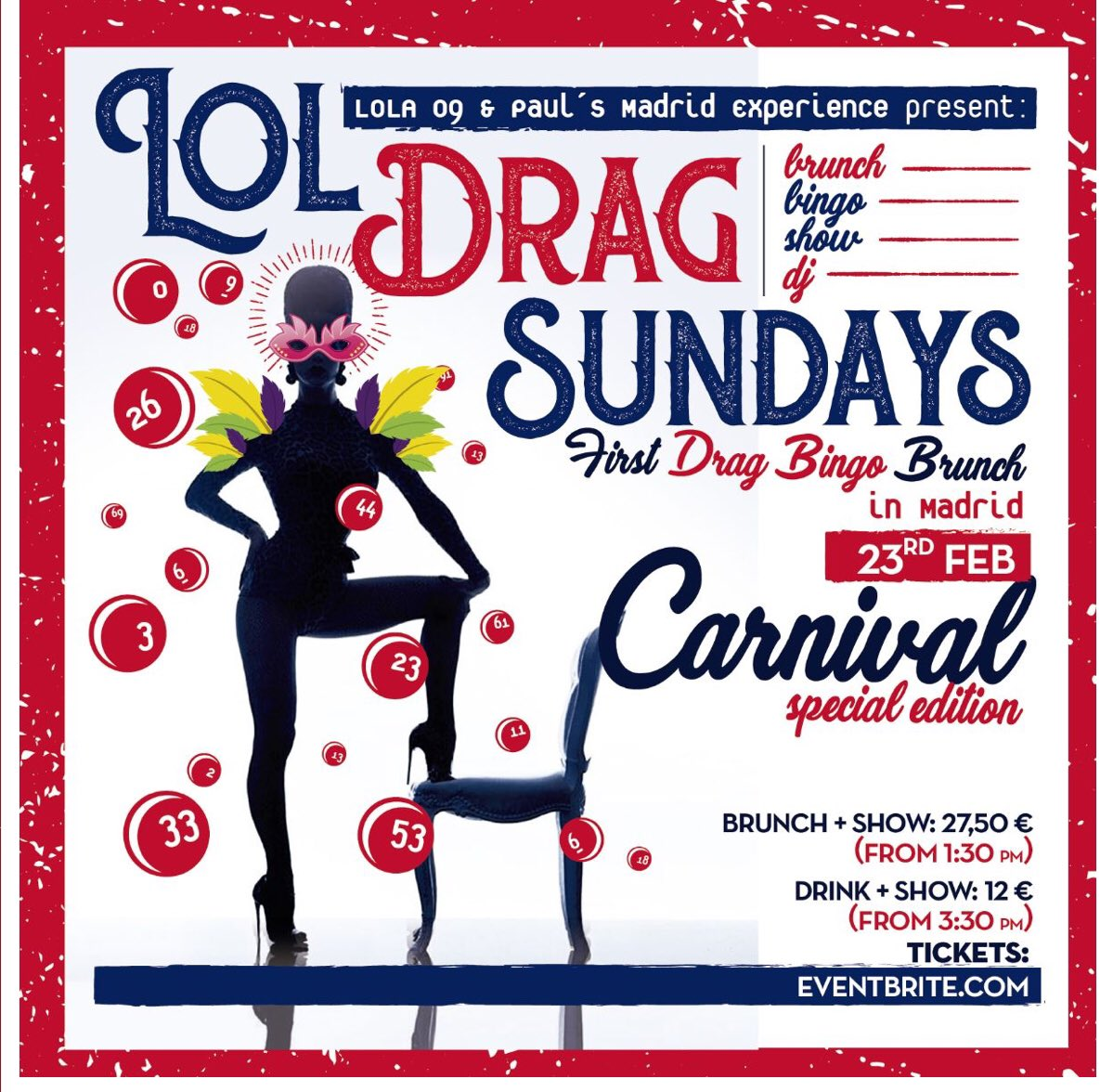 Don't miss next Sunday's #Carnival special with #Drag Queens galore , #bingo & delicious Open #Brunch. Staring @VaniaVainilla1 @PupiPoisson diamontemerybrown. Tickets > Eventbrite , Airbnb or direct from the venue @Lola09Madrid https://t.co/dYkIhIk8L4