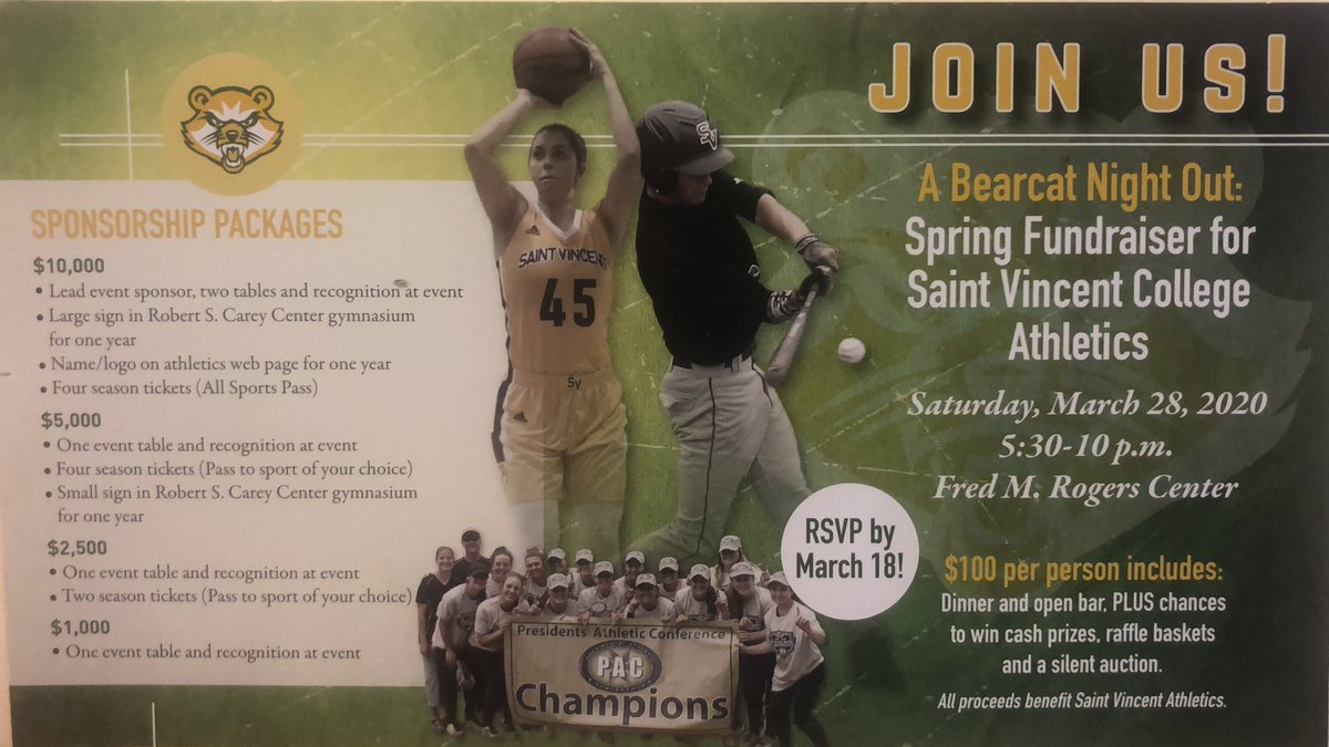 """Join US- Spread the WORD.   """"Bearcat Night Out""""   Spring Fundraiser for Saint Vincent College Athletics- March 28. 5:30-10 p.m.  @ Fred M, Rogers Center   ⚽️🎾🏀🏐🏈⚾️🥎🥍🏌🏽♂️🏊🏼♂️🤼♂️🏋️♀️🎳  @CoachRWise @RossAbbott11 @Coach_SVCVB @SVC_Football"""