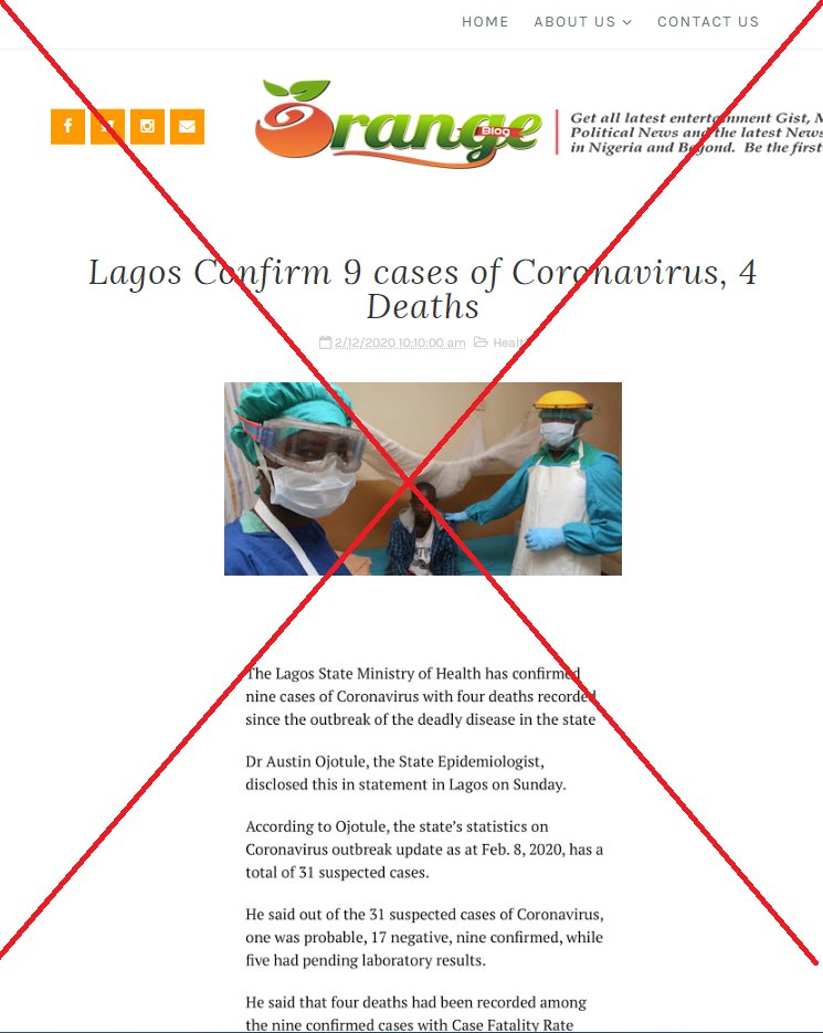Coronavirus deaths in Nigeria?   False  There are no known deaths or confirmed cases of the novel coronavirus in Nigeria as of February 18, 2020 #CoronaVirusFacts   http:// u.afp.com/NigeriaCoronav irus   … <br>http://pic.twitter.com/rLa2GbXb2L