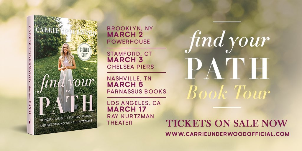 Don't miss Carrie on her #FindYourPath book tour! Get tickets now at http://carrieunderwoodofficial.com/findyourpath - TeamCU