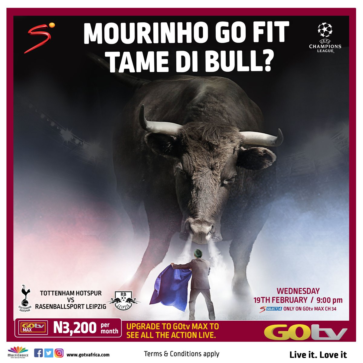 Don't miss live Champions League match on your GOtv.  Spurs finished second to Bayern Munich in Group B to reach the knockout stages for a third season running, while Leipzig topped Group G to reach this stage for the first time.  Watch the match tomorrow on Select 4 (ch 34).<br>http://pic.twitter.com/kqc0BNHwn6