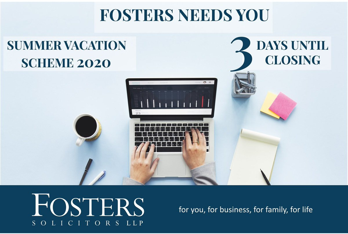 📢3 days left to apply for our Summer Vacation Scheme 2020. Two weeks at Fosters Solicitors within our #Crime #Family #PersonalInjury & #MedicalNegligence and #Business & #Commercial Departments.  #SummerVacationScheme #DontMissOut   For Information👇