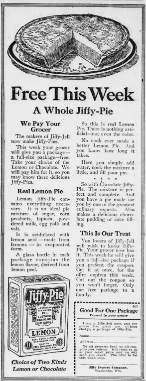 Pie in a jiffy. Which flavor would you like better? Lemon or chocolate? (1920) #ChronAmParty #GreatAmericanPieMonth #ChronAm http://ow.ly/j26050yph55 #Wisconsin #WisconsinNews #WisconsinHistorypic.twitter.com/NpZL2ez94C