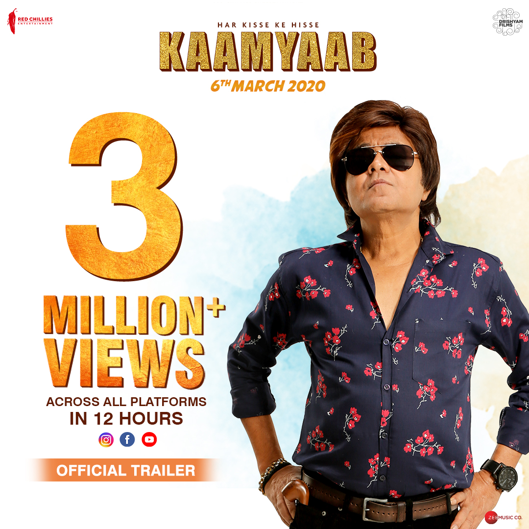 #KaamyaabTrailer crossed 3 Million views within 12 hours, and we have you to thank for it. Keep the love flowing! Watch Trailer:  @imsanjaimishra #DeepakDobriyal #HardikMehta