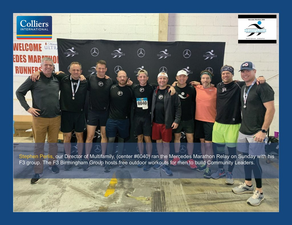 Congratulations to @stephenperlis, our Director of #multifamily in #Birmingham, for completing the #Mercedes marathon relay this weekend with his @F3Birmingham Group.pic.twitter.com/08RuRQZoDD