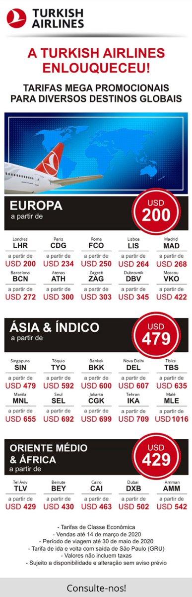 A TURKISH AIRLINES ENLOUQUECEU!! Tarifas mega promocionais para diversos destinos globais a partir de USD 200!!  Consulte-nos para maiores informações ou acesse o nosso site e confira outras promoções!  https://panandes.com/promocoes-turkish-destinos-globais-a-partir-de-usd-200/…pic.twitter.com/znoiuz9Q1g