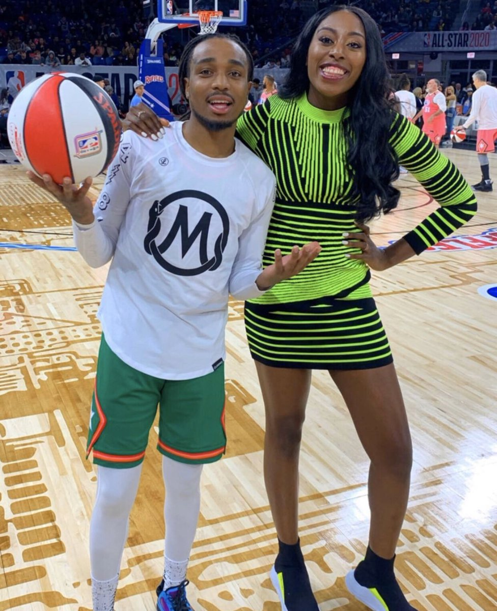 .@Chiney321 x @QuavoStuntin were all smiles at the #NBAAllStar celebrity game #MadefortheW
