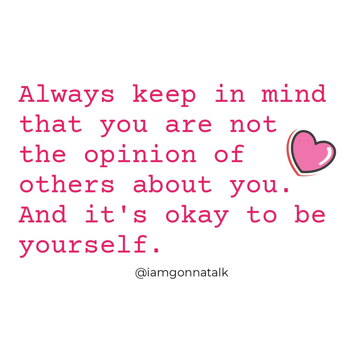 You are not the opinion of others about you. (Never forget that. Please!) #Loveyourself #respectyourself #beproudofyourself #selfhealing #Mindfulness #mentalhealth #YouMatter #iamgonnatalk #IAGTalkpic.twitter.com/yydF8am4ta