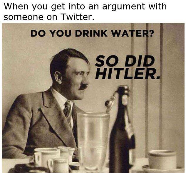 Drinking a glass of water, eh? You know who else drank water? Hitler! twitter.com/themrsdebord/s…