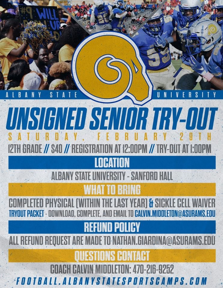 Come out and compete! Show that you have what it takes to be a Golden Ram in the fall!  💻: https://t.co/D1TFnBWdFU https://t.co/gcmHfMwmFK