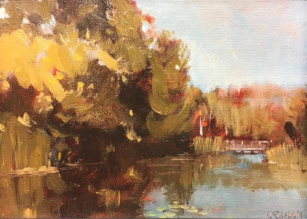 """Daily Paintworks - """"Evergreen Pond"""" © Stuart Graham"""" 5x7 in  https://www.dailypaintworks.com/fineart/stuart-graham/evergreen-pond/786355…pic.twitter.com/a6F7zPMPeM"""