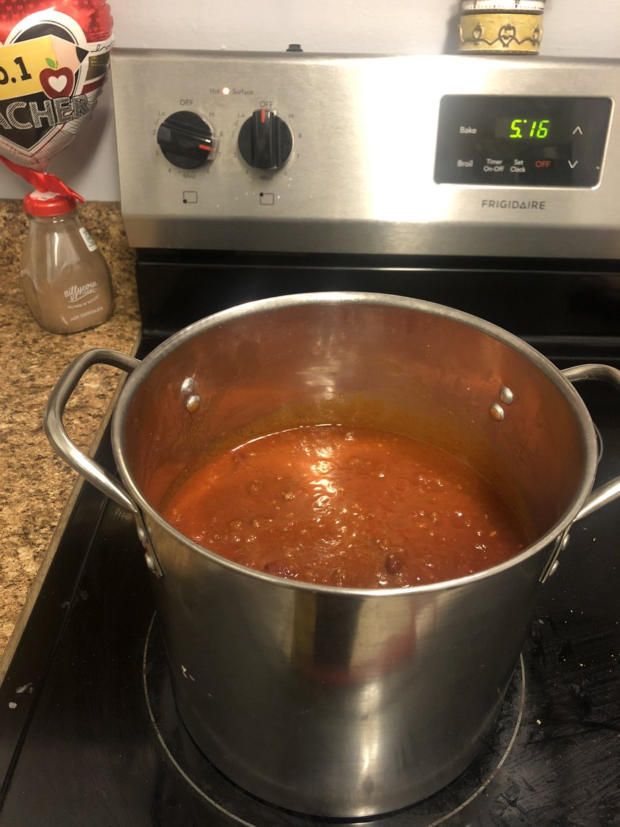 """Made a """"little"""" chili until I can get to the store to try the recipe I saw from @AllFitLLC earlier for pork tenderloin.  I will have to do tacos another night. But it's #TacoTuesday any day of the week in my book. Lolpic.twitter.com/v0X4aX8l62"""