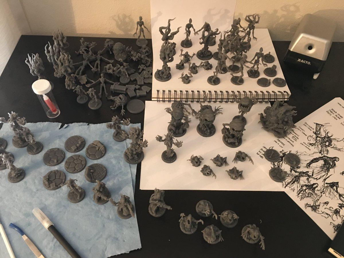 My work space, fillin' up with printed minis!  #battleyakminiatures #3dprinting #miniatures #3dprintable #rpg #tabletop #workspace #dnd #warhammer