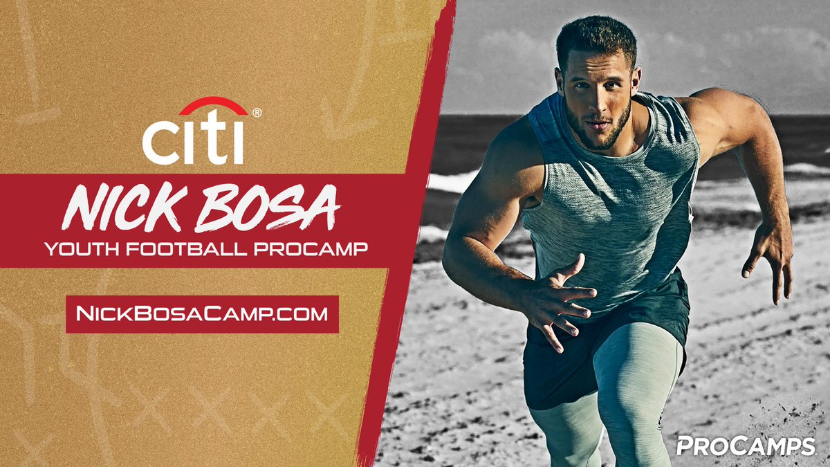 Growing up, my dad and brother helped me develop a passion for #football. Now? I want to help you become a better player. Join me for my inaugural @Citibank 🏈 @ProCamps. Open to boys & girls June 6-7. ALL SKILL LEVELS welcome->NickBosaCamp.com Can't wait! #CloserToPro