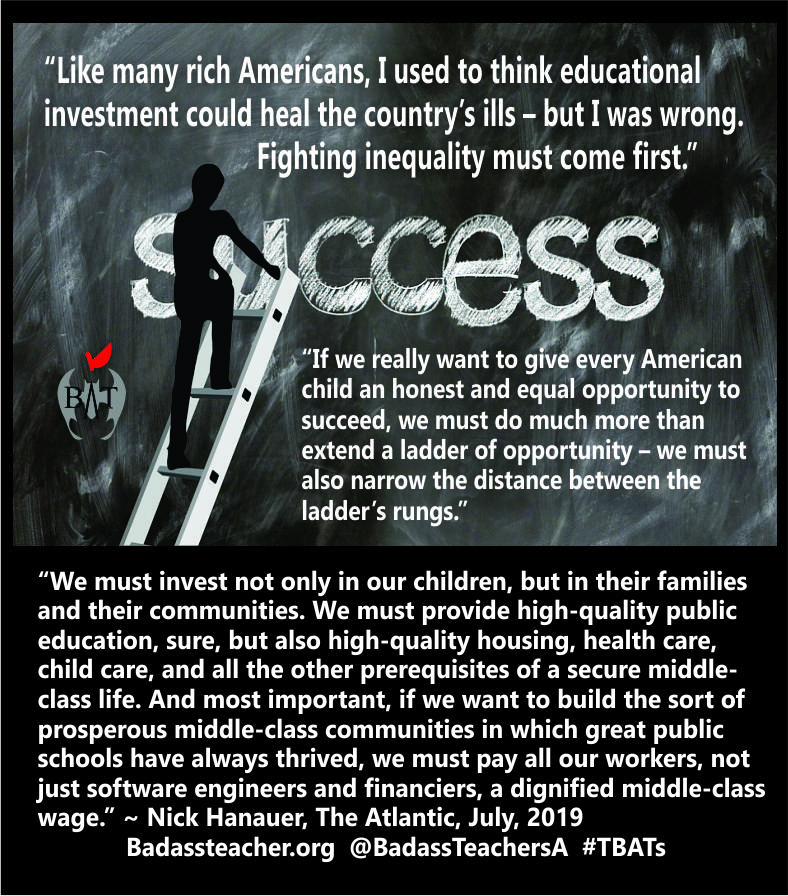 We must invest in our schools, yes. Especially public schools. But also in our children, families & communities. We must invest in health care & child care. We must make sure all jobs pay a living wage. Thats real success. theatlantic.com/magazine/archi… #TBATs #Vote2020