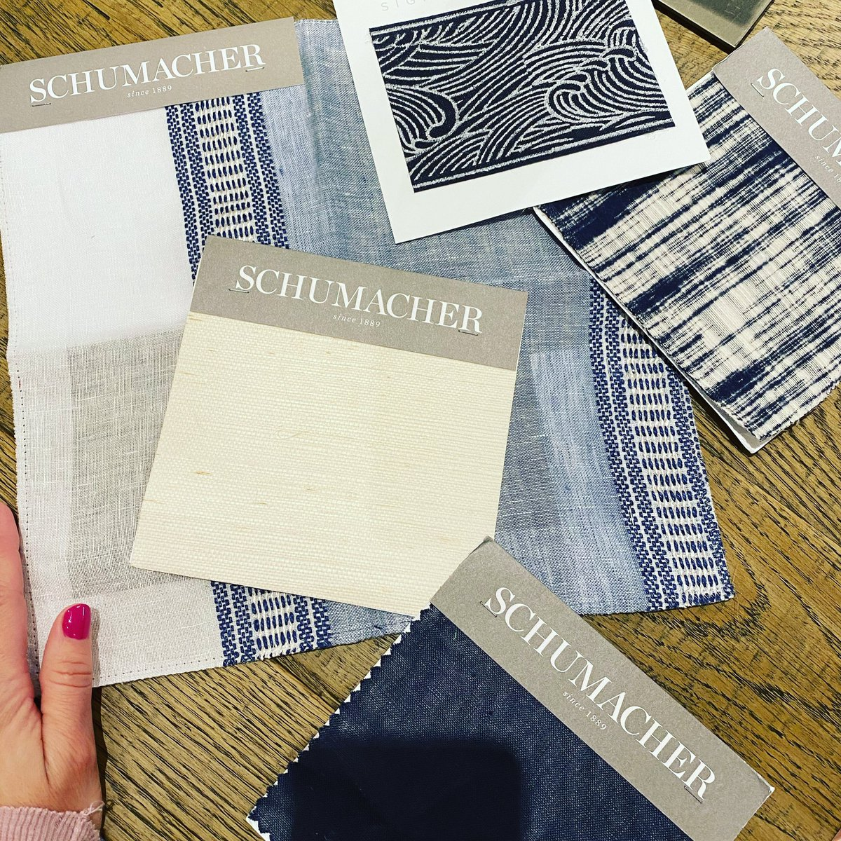 Nothing like a midday treat from @schumacher1889 ! Thank you for the new samples to add to our collection. Our clients will love them! . #schumacher #schumacherfabrics @KMcKay_Designs
