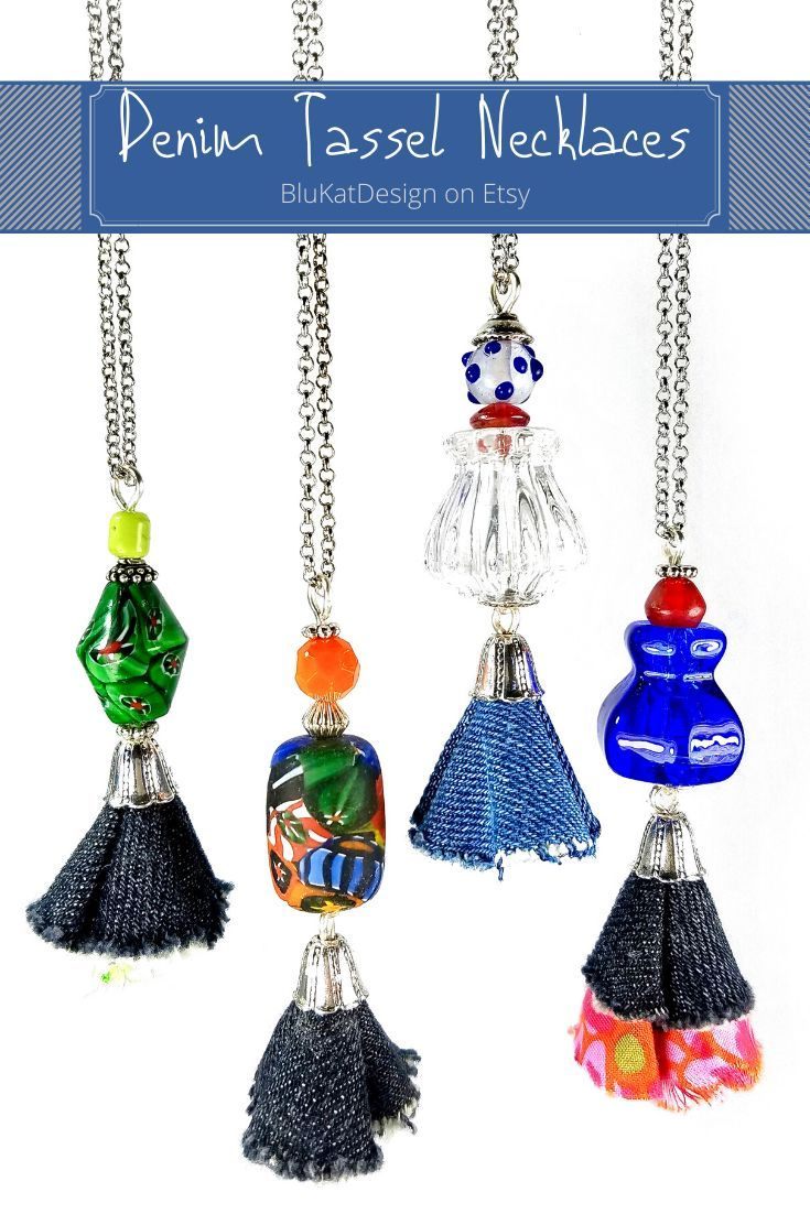 """Upcycled long denim tassel necklaces with funky beads or glass knobs! #oneofakind #uniquejewelry #longnecklaces #denim"""