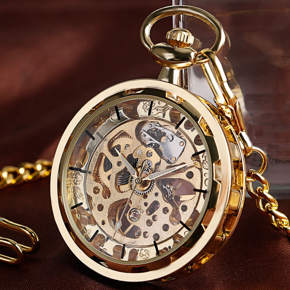 #Geek 🤓 Awesome of the Day: Golden Automatic Skeleton #Steampunk Gear Mechanical Pocket #Watch⌚ via @mywatcheshouse #SamaWatch #SamaGeek