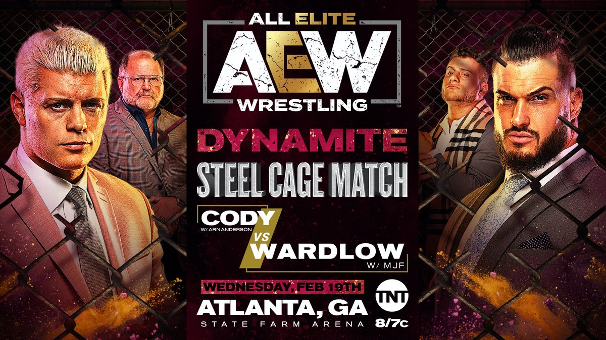 Tomorrow night at the @StateFarmArena, @RealWardlow makes his #AEW in-ring debut against the #AmericanNightmare @CodyRhodes in a #SteelCageMatch!  Get your tickets at  or watch #AEWDynamite LIVE every Wednesday night on @TNTDrama 8e/7c.