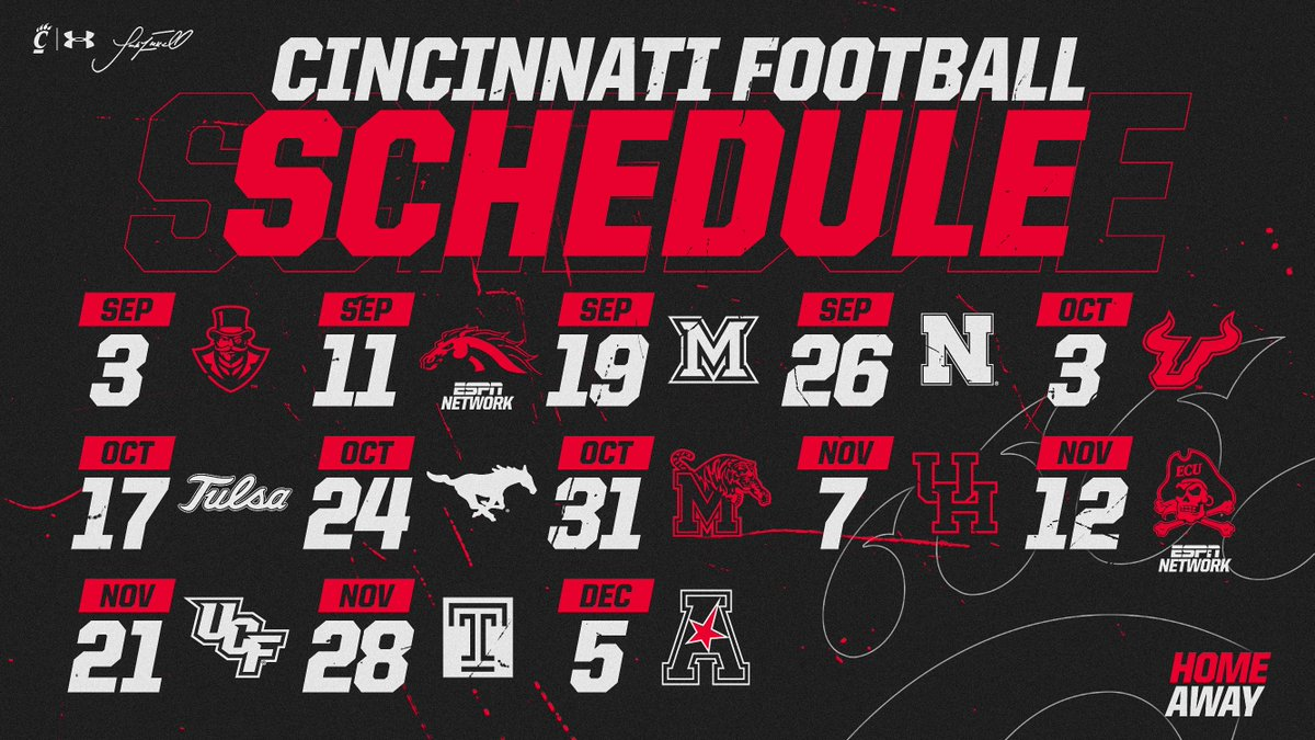 🚨 SCHEDULE RELEASE 🚨  Update your calendars, the 2020 #Bearcats football schedule is 𝗦𝗘𝗧!  🔗: http://bit.ly/2SHnoVP  Get your 🎟 𝗡𝗢𝗪! Renewal: https://cpaw.io/fgz Deposit: https://cpaw.io/98l