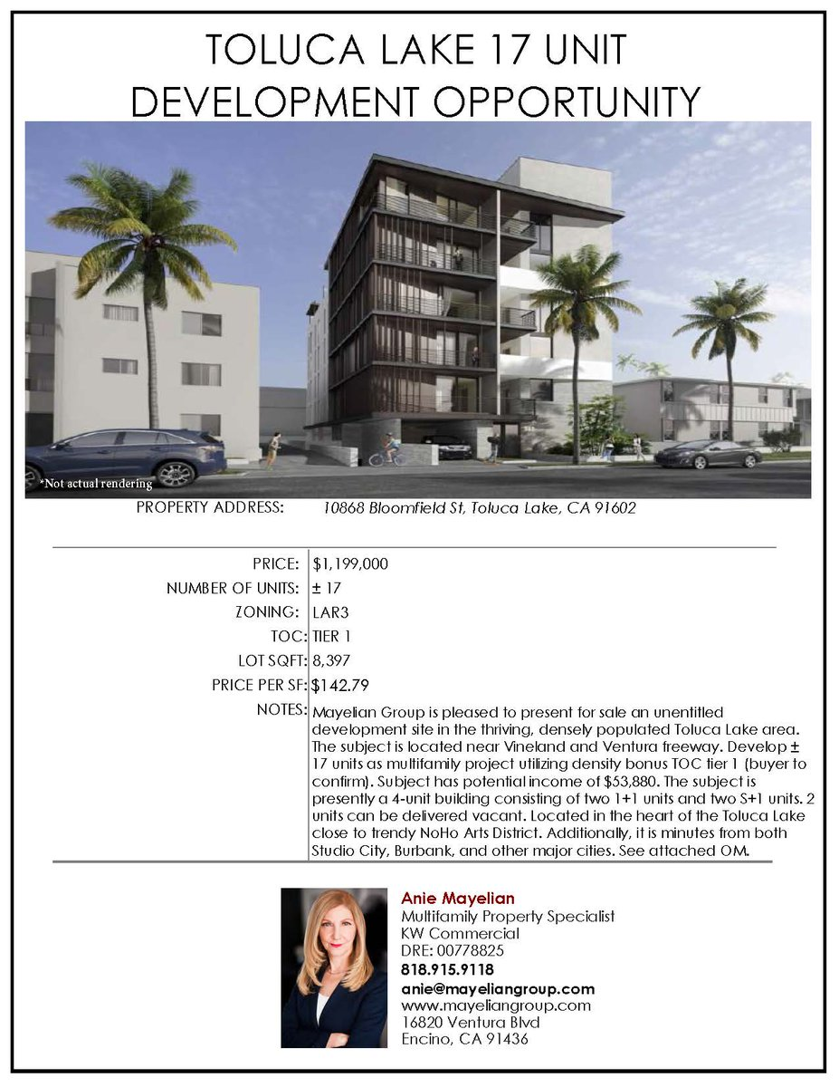 17 unit development opportunity in Toluca Lake!  View the Offering Memorandum by contacting us at (818) 915 - 9118 or at anie@mayeliangroup.com #losangeles #investor #realtor #investment #realestate #multifamilyinvesting pic.twitter.com/SYMLUZuLQv