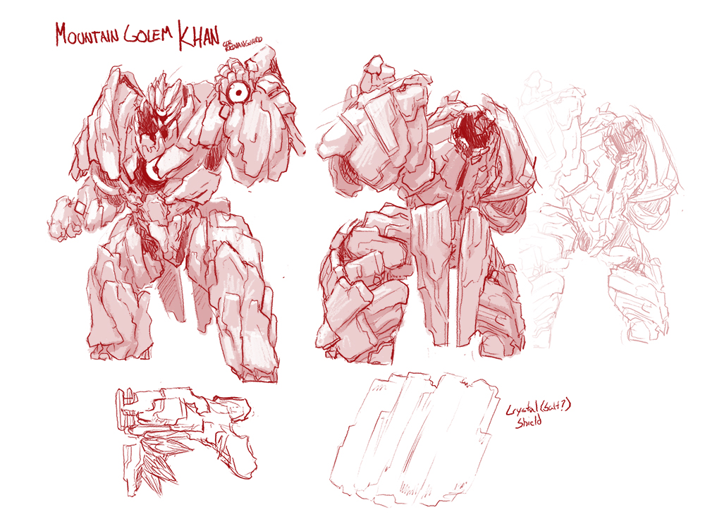 On my continuing quest to annoy @PaladinsGame  with skin ideas (and because I was asked a lot about him a Khan idea), I bring you all: Mountain Golem Khan #Paladins