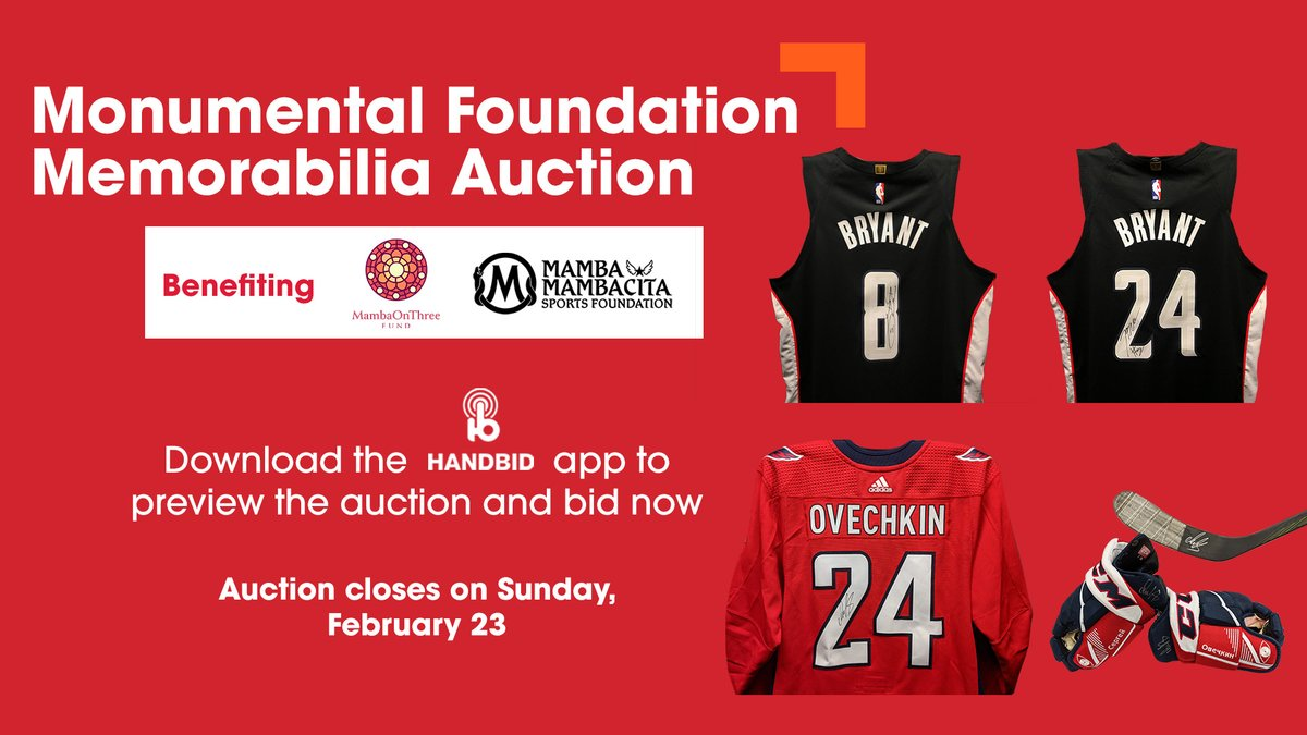 .@MSEFndn is hosting an auction featuring @Capitals and Wizards items worn by players in tribute to Kobe Bryant.  Proceeds will benefit The Mamba & Mambacita Sports Foundation and The MambaOnThree Fund.