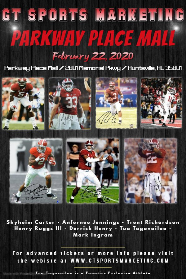Huntsville . . . The Champs and Heismans are Back!! Greatest Autograph signings in Alabama - meet @tuaamann, @_RUGGS, @anfreneejenning, @Christmas5, @markingram21 this Saturday at Parkway Place Mall.  For more information, go to gtsportsmarketing.com