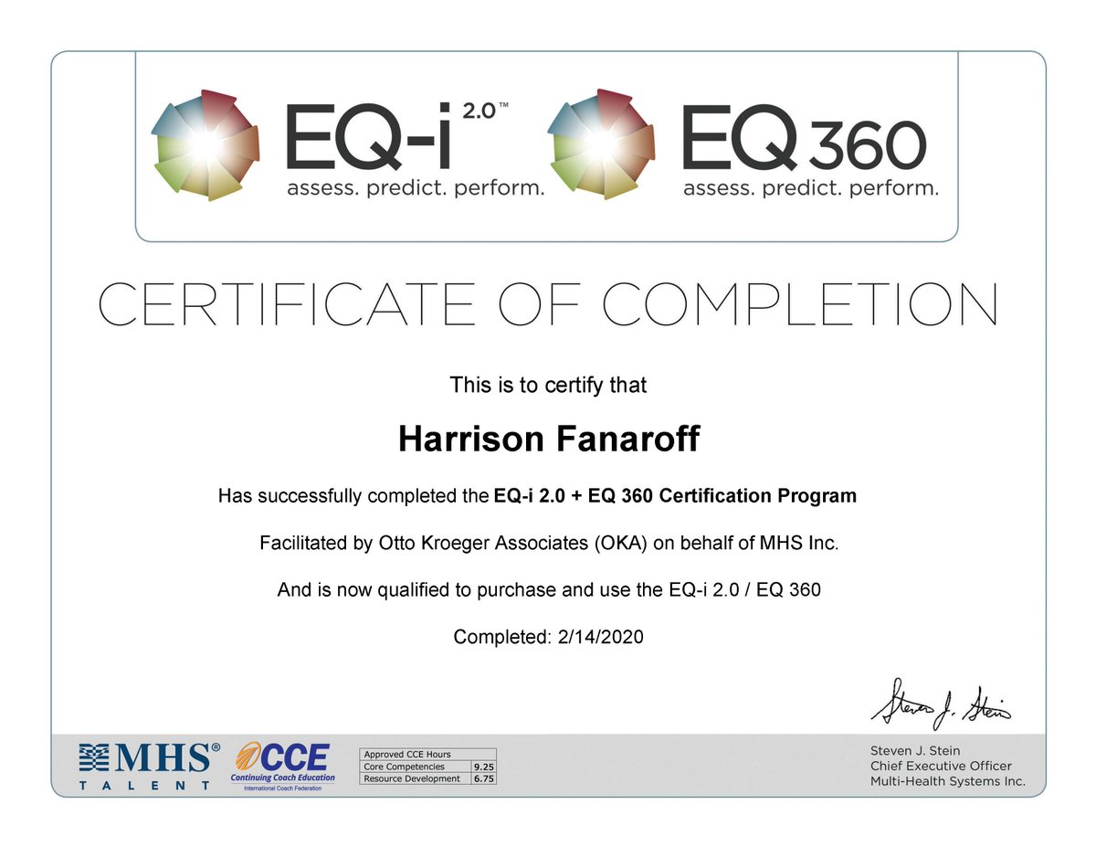 Excited to share my new EQi 2.0 and EQi 360 Certification from @OKAtypetalk. Had an amazing 3 day experience getting certified in this very easy to use emotional intelligence assessment tool! #emotionalintelligence <br>http://pic.twitter.com/hIqe0JDTVS