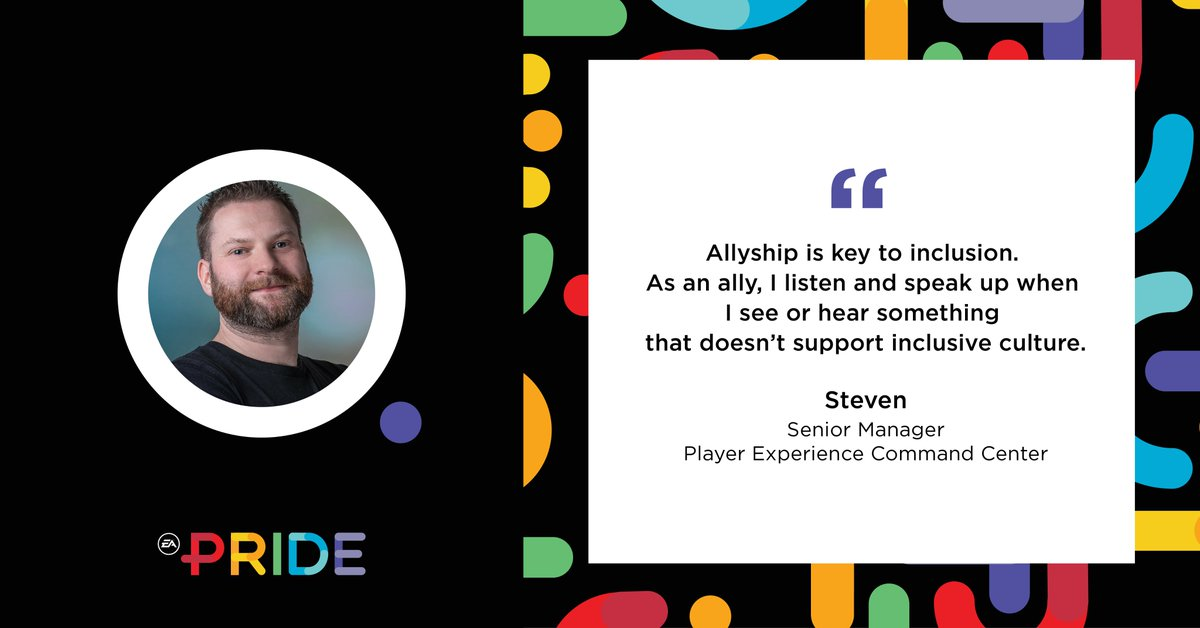 In our final EA PRIDE ERG spotlight, we hear from Senior Manager Steven who speaks about the importance of being an ally. #EA #LGBT #LGBTQ #CEI2020 #HumanRightsCampaign #WeAreEA