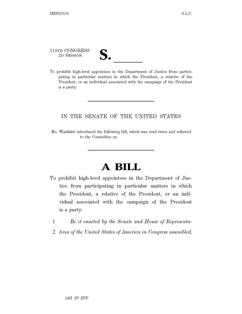 It's pretty simple: Congress should not be funding corruption. I've introduced a bill with @SenWarren, @MazieHirono, and @SenMarkey to protect the rule of law and prevent political interference at the Department of Justice.