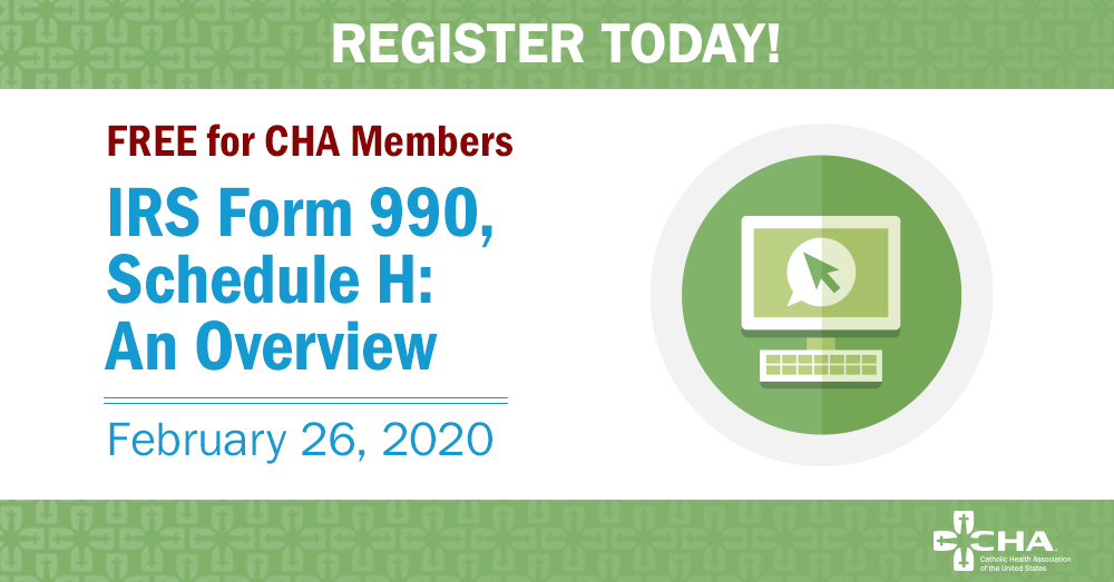 Join us Feb. 26 for our #IRS990, Schedule H webinar co-sponsored by @VizientInc. Stephen Clark from @EYnews will discuss Schedule H changes, #AffordableCareAct compliance and hospital tax exemption compliance. Register at http://ow.ly/hwl550ypzlJ . #CatholicHealth