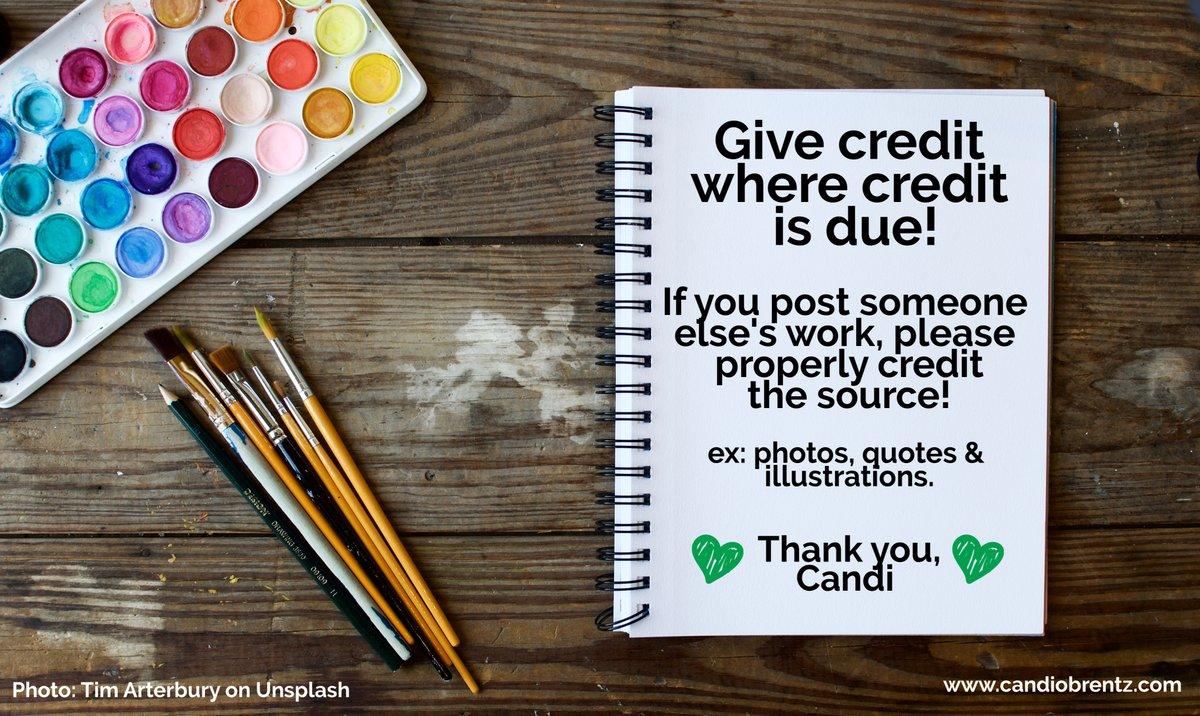 My #TuesdayTip - if you post or share someone else's work, please properly credit the source.   This goes for photos, illustrations & quotes.   Give credit where credit is due: it is the respectful & right thing to do! #DoTheRightThing   @Tim_Arterbury via @unsplash Unsplashpic.twitter.com/0kn64p6fzo