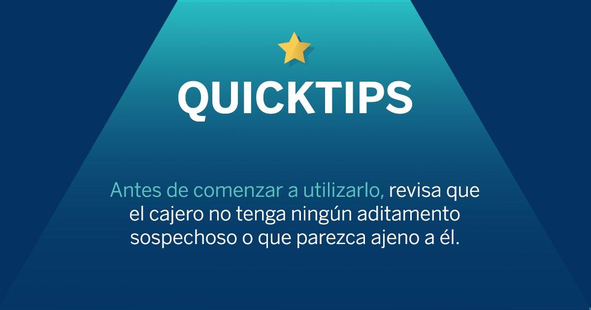 Tomarse algunos segundos para verificar el cajero automático antes de hacer un retiro de efectivo, puede hacer la diferencia, ten en cuenta este #QUICKTIP cada que los utilices. https://bbva.info/2O3nXnmpic.twitter.com/3GSvrTnrod